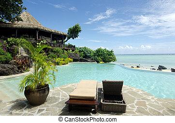 island., pokojowy ocean, tropikalny, bungalow, plaża