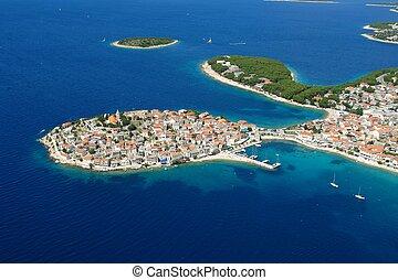 Island Primosten - Aerial photo of the town Primosten in ...