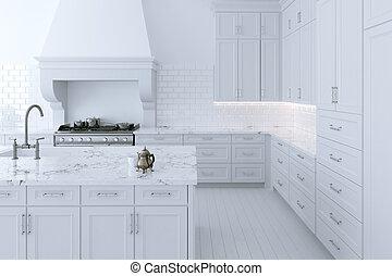 island., render, kochen, küchenkabinett, weißes, luxuriös, 3d