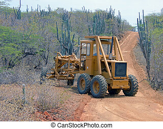 island road repair - road repair on a tropical island after ...