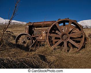 island, rostig, gammal, äng, traktor