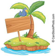 Island scene with bird on wooden sign