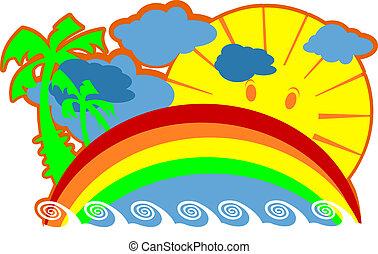 Island, Sea, Palms, Sun Vacation Vector