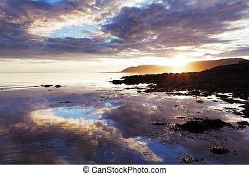 island, solnedgång, hav