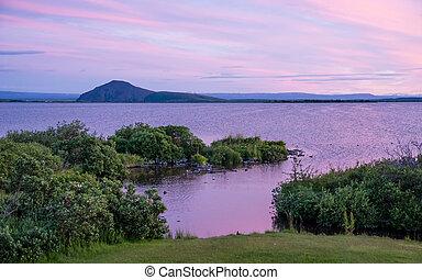island, sonnenuntergang, see, nördlich , myvatn