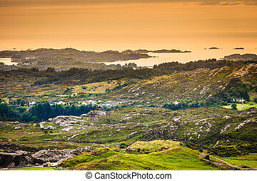 Tourism vacation and travel. Island Sotra landscape and fjord near bergen in norway, scandinavia.