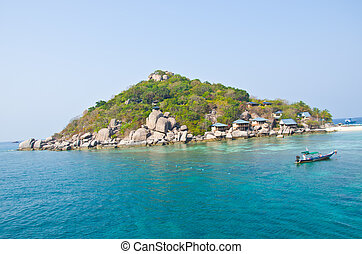 Island - beautiful island and blue water blue sky for summer...