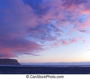 island, sunset.