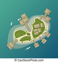Island top view with tourist beach and umbrella