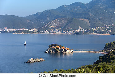 island town St.Stephan in adriatic sea, Montenegro