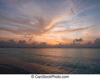 island., tropicale, sea., maldive, tramonto, meeru