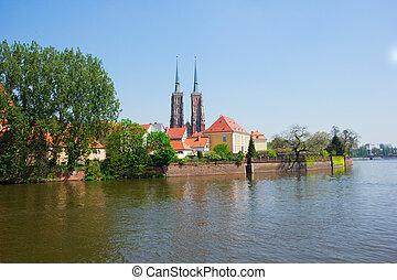 island Tumski, Wroclaw, Poland - old town of Wroclaw ,...