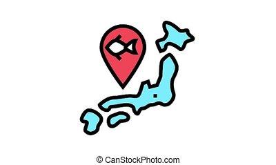 island tuna gps market animated color icon. island tuna gps market sign. isolated on white background