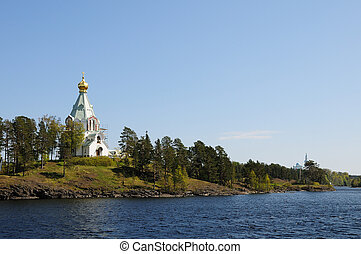 Island Valaam. View of Saint Nicholas Skete - North Russia....