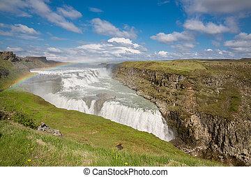 island, vattenfall, regnbåge, gullfoss