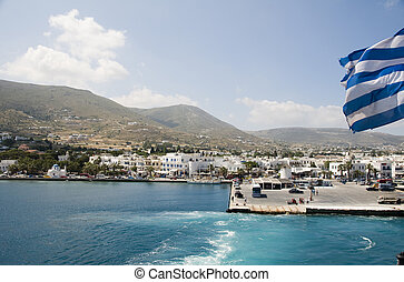 view of harbor port of parikia town and landscape of greek cyclades island of paros greece in the mediterranean sea