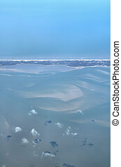 Island view - View onto a stripe of Sylt in the north sea