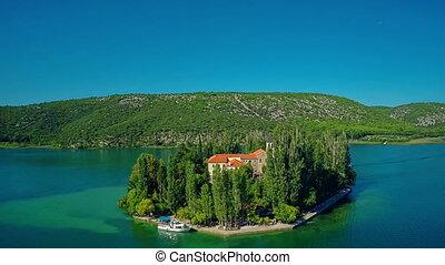 Island Visovac, aerial circular shot
