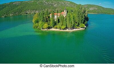 Island Visovac, aerial overshoot - Copter aerial overshoot...