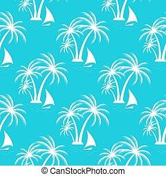 island., voile, arbres., pattern., seamless, exotique, paume, bateau