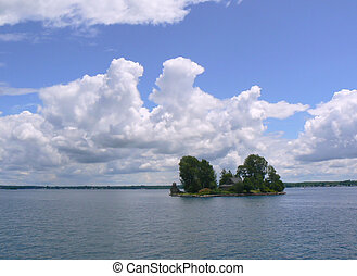 Island with a house on Ontario lake, Canada