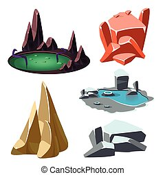 Island with a Lake and Rocks Set. Vector Illustration
