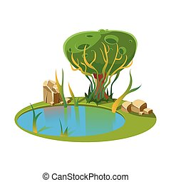 Island with a Lake and Tree. Vector Illustration