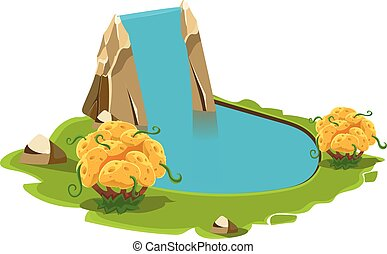 Island with a Lake and Waterfall. Vector Illustration