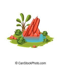 Island with a Lake. Vector Illustration