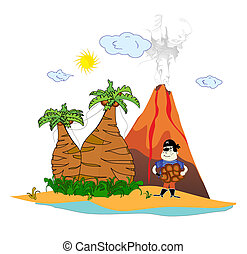 island with a volcano and a pirate