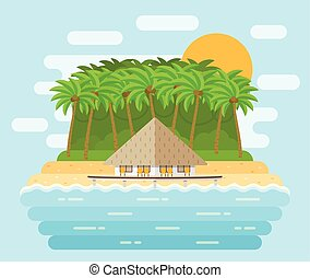 Island with bungalow on beach in flat design. Vector illustration.