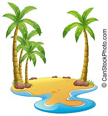 Island with coconut trees