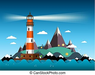 Island with Lighthouse on Sea and Mountains Vector Illustration