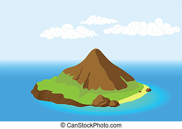Blue Sea and Island with Mountain, vector