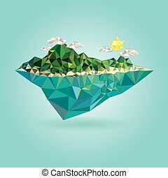 Island with mountain low poly - Island with mountain vector...