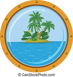 Island with palm and bronze ship window - Tropical sea...
