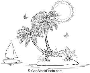 Island with palm and ship contours - Ship, sun, tropical sea...