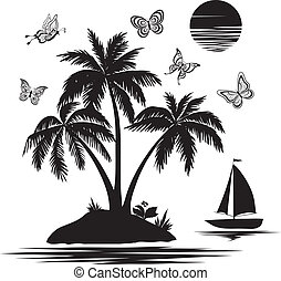 Island with palm, ship, butterflies, silhouettes - Tropical...