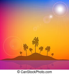 island with palm trees against a background of orange blue sky