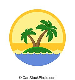 Island with Palm Trees Cute Logo. Vector