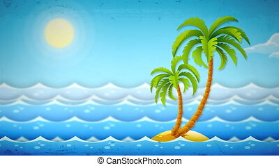 island with tropical palms among sea waves. Retro styled HD video 1920x1080