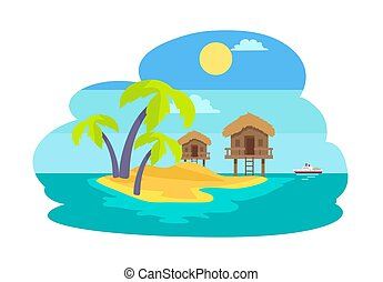 Island with Palms and Bungalow Vector Illustration