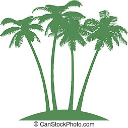 Island with Palms on White Background. Vector