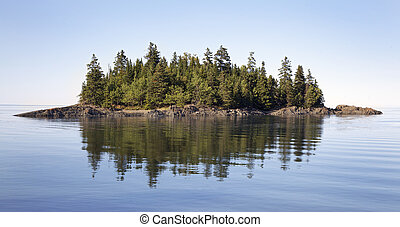 Bic National Park, Quebec - Island with pine tree in Bic ...