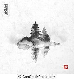 Island with three pine trees in fog with reflection in...