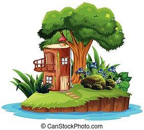Island with tree house