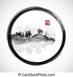 Island with trees in black enso zen circle. Traditional...