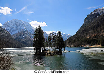 Island with trees on the lake called Lago del Predil in Northern