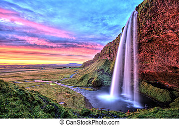 islanda, cascata, tramonto, seljalandfoss
