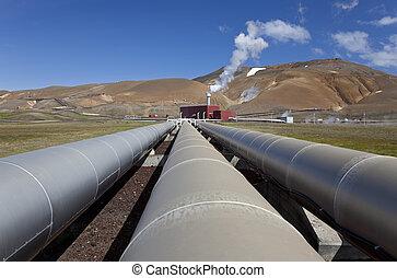 islanda, geotermico, stazione, potere